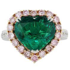 3.70 Carat AGL colombien émeraude diamant rose deux couleurs bague en or à vendre