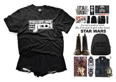 """""""Some Star  Wars Love"""" by alex-fox1 ❤ liked on Polyvore featuring Boohoo, Dr. Martens, le top, Accessorize, Uniqlo, R2, edgy, star, starwars and blackoutfit"""