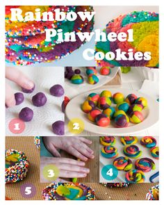 Rainbow sugar cookies - impress your guests with these! Kids can help roll, too!