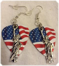Tibetan Silver Statue of Liberty Dangle red-white-blue Earrings Made in the USA #Handmade #DropDangle