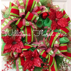 Christmas Mesh Wreath by WilliamsFloral on Etsy https://www.etsy.com/listing/208008996/christmas-mesh-wreath