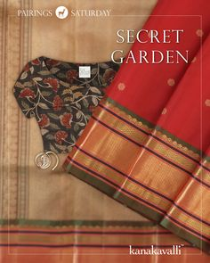Kanakavalli brings you a Pairing that promises to transport you to a verdant garden, as lush as the drape it features. The red body of the sari is dotted with floral buttis. The green border is woven with zari, while tiger & peacock motifs come to life on the pallu. The earthiness of the kalamkari tussore blouse in black, red & beige is the perfect foil to the resplendent silk. This exquisite Ahalya nosepin in gold has a tiny paisley set within a circle, studded with diamonds & a ruby cob