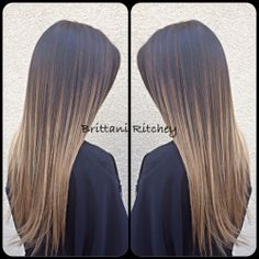 Dark chocolate brown with sunkissed blonde balayage highlights