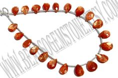 Sunstone Faceted Pear Quality AAA / 18 cm /  5 by beadsogemstone, $19.80
