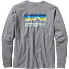 Patagonia Men's Long-Sleeved Line Logo T-Shirt ($45) ❤ liked on Polyvore featuring men's fashion, men's clothing, men's shirts, men's t-shirts, tops, shirts, patagonia, gravel heather, mens long t shirts and mens long shirts