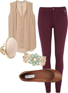 Maroon skinny jeans, sheer blouse, brown flats, jewellry.