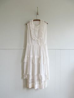 Vintage lace wedding dress.