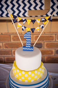 Minus the anchors and change the navy to grey--Party Mini Cake Bunting, Navy Blue Anchors, Yellow Chevron, Polka Dot, Birthday Party, Summer Wedding, Baby Shower on Etsy, $29.73 CAD