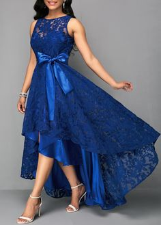 Vintage Lace Maxi Dress Women Sleeveless High Low Belted Irregular Swing A-Line Long Club Party Dress Vestidos 2019 Blue XXXL Lace Party Dresses, Elegant Dresses, Sexy Dresses, Pretty Dresses, Beautiful Dresses, Evening Dresses, Casual Dresses, Dress Prom, Sleeveless Dresses