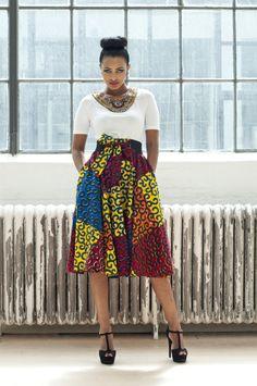 Akia Color Block Skirt   Zuvaa