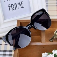 SALE! Cat-Eye Semi-Rimless Round Sunglasses ⭐️⭐️⭐️⭐️⭐️ NWOT Trendy Modern Vintage Retro European Fashion Boho Hipster Hippie Black Cat Eye Semi-Rimless Round Circle Sunglasses  great for the beach, partying and shopping! UV 400. Price Firm. BUNDLE & SAVE 20%!!! Accessories Sunglasses
