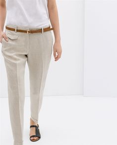 Image 2 of LINEN TROUSERS from Zara ...love these, but with linen do you look like a mess at the end of the day?