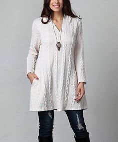 Look what I found on #zulily! Winter White Cable Knit Hooded Side-Pocket Tunic - Plus #zulilyfinds