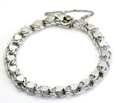 Textured Heart Line Circle Link Bracelet with Safety in Sterling Silver #Tennis