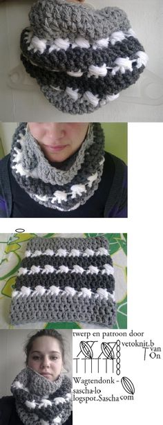 chunky crochet cowl with this cool diagrammed stitch!