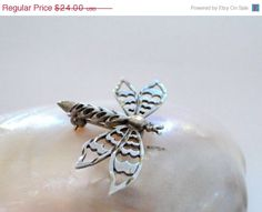 So Pretty! Vintage brooch  Sterling Silver Dragon Fly ON SALE now only $21.60! Entire Shop Sale NOW! October Sale in MyVtgJewelryShop.