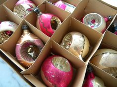 Vintage Glass #Christmas #Ornaments in box. Pink. Gold. 1940's.. $17.00, via Etsy.