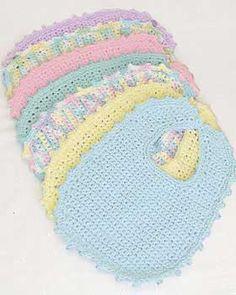 Easy-to-crochet baby bibs and booties