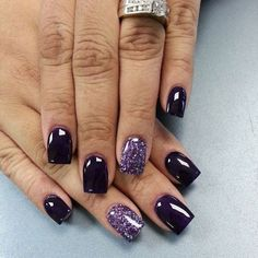 Dark Purple Nail with a chunky Purple glitter accent nail. Description from pinterest.com. I searched for this on bing.com/images