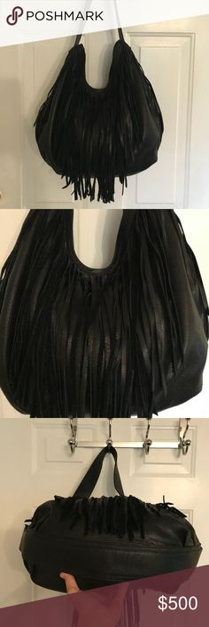 🛍 Bryna Nicole Black Leather Fringe Shoulder Bag Like new.  Dust bag. Bryna Nicole Bags Shoulder Bags