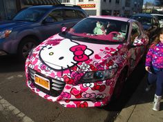 Hello Kitty car. I have seen this car in person...its amazing...so is the person who designed it...
