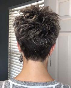 Short Hair Back, Pixie Haircut For Thick Hair, Short Choppy Hair, Short Hair Older Women, Short Hair With Layers, Pixie Back, Pixie Cut With Undercut, Undercut Pixie Haircut, Short Sassy Haircuts