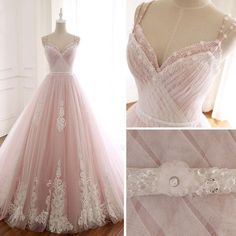 wedding dress pink Modern / Fashion Blushing Pink Summer Beach Wedding Dresses 2018 A-Line / Princess Spaghetti Straps Sleeveless Backless Appliques Lace Beading Crystal Sash Ruffle Chapel Train Pink Wedding Dresses, Wedding Gowns, Prom Dresses, Pretty Dresses, Beautiful Dresses, Fantasy Gowns, Fairy Dress, Quinceanera Dresses, The Dress