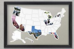 Fill in a map-shaped photo frame - 30 Brilliant Ways to Actually Use Your Travel Photos - Southernliving. If you'd prefer to hang something a little more polished, try a pre-cut matboard photo frame. It also comes with state-shaped cutouts you can use as a template when sizing your photos to fit. To buy: etsy.com, from $59