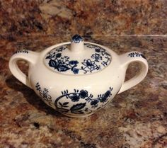 2 Handled China Blue Onion Sugar bowl with lid.