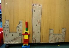 Learning about shorter and taller, not a worksheet in sight. We were developing the use of comparative language to measure. The children were asked to make towers the same height as the ones shown,… Construction Area Eyfs, Construction Area Early Years, Maths Eyfs, Literacy And Numeracy, Early Years Maths, Early Years Classroom, Fairy Tale Activities, Pre K Activities, Did Dragons Exist