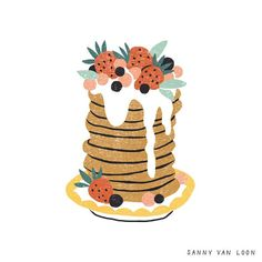 pancake drawing Pancakes illustration by Sanny van - pancake Pancake Drawing, Food Drawing, Drawing S, Art Drawings, Illustration Fantasy, Illustration Girl, Botanical Illustration, Illustrations Vintage, Design Illustrations