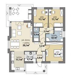 Adele - Dobre Domy Flak & Abramowicz Beautiful House Plans, Beautiful Homes, Adele, Indian House Plans, Modern Bungalow House, Indian Homes, Floor Plans, Farmhouse, Flooring