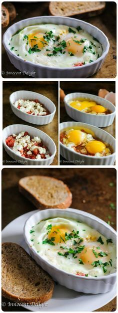 Baked Eggs with Tomatoes and Feta Cheese. Elegant yet very easy breakfast that is ready in just 15 minutes.