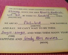 Creative Ways to RSVP-awesome madlibs !!