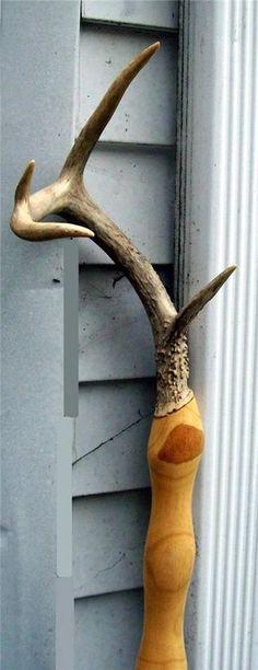 Deer antler rack horn WALKING STICK / STAFF / reinactment wizard wand cane
