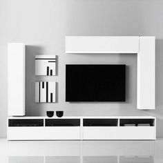 This wall composition is composed of 2 TV stands and 6 cube-shaped units. Thanks… Diese Wandaufbau besteht aus 2 TV-Ständer … Tv Unit Decor, Tv Wall Decor, Tv Cabinet Design, Tv Wall Design, Tv Unit Furniture Design, Modern Tv Wall Units, Rack Tv, Tv Wand, Tv Stand Designs