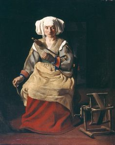 'Woman Spinning' by Michael Sweerts, Flemish painter (1655-1661), Gouda Museum