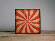 Red Circus Pinwheel Painted Wood Art by MatchBlox on Etsy, $29.00