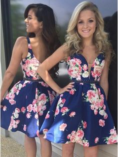 Royal Blue Homecoming Dresses, Floral Short prom dresses, Simple Party Dresses