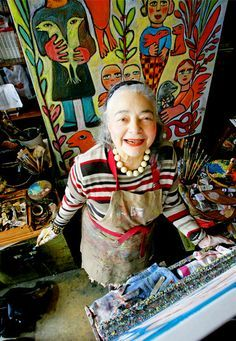 Mora~ Mirka Mora is a prominent French-born Australian Visual artist who has contributed significantly to the development of Contemporary Art in Australia. Her mediums include painting, sculpture and mosaics. Artist Art, Artist At Work, Art Brut, Arte Popular, Australian Artists, Australian Painters, Outsider Art, Art Plastique, Famous Artists