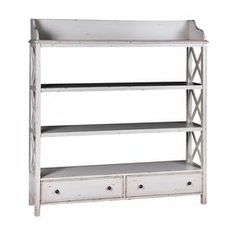 "3-shelf etagere in distressed white with 2 bottom drawers and latticed side panels.   Product: BookcaseConstruction Material: Wood composites and hardwood solidsColor: Distressed whiteFeatures:  Three stationary shelvesTwo drawersDecorative X-bracing side panels Dimensions: 63"" H x 60"" W x 14"" DCleaning and Care: Dust with clean, soft damp cloth. Avoid the use of all chemical and household cleaners."