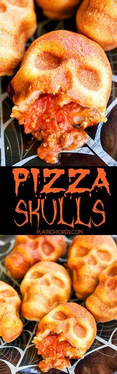 Pizza Skulls - pizza pockets baked in a skull pan. SO easy! Can customize each pizza pocket to everyone's preference. Great for Halloween and The Walking Dead parties! Can bake and freeze for later! Find more about Halloween on Halloween Snacks, Muffins Halloween, Hallowen Food, Halloween Dinner, Halloween Goodies, Halloween Birthday, Spooky Halloween, Halloween Pizza, Spooky Food