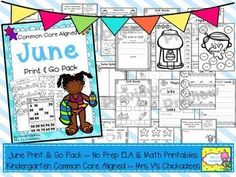 June Print & Go: No Prep Common Core Aligned ELA & Math worksheets for kindergarten... by Mrs V's Chickadees | Teachers Pay Teachers. Great for supplementing curriculum, homework, fast finishers and more
