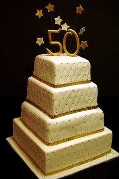 50th Birthday Cake Gold and Blue Birthday cakes Tasty and