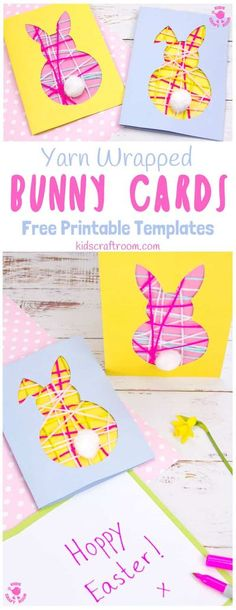 These pretty Yarn Wrapped Easter Bunny Cards are super cute and very easy to make. They're great fun as an Easter craft for kids that lets them practise their fine motor skills too. This easy Easter Bunny craft is adorable as wall decorations super cute Bunny Easter Cards to share with friends. (Free printable templates included) #kidscraftroom #easter #eastercrafts #eastercraftsforkids #easterbunny #eastercards #bunny #printablesforkids #freeprintables #kidscrafts #springcrafts Crafts For Teens To Make, Easter Crafts For Kids, Preschool Crafts, Diy And Crafts, Easy Crafts, Yarn Crafts For Kids, Easter Activities For Kids, Teen Crafts, Preschool Ideas