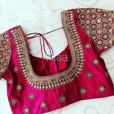 Magenta Bridal and Wedding Heavy Silk Blouse – FashionVibes Cutwork Blouse Designs, Best Blouse Designs, Pattu Saree Blouse Designs, Simple Blouse Designs, Stylish Blouse Design, Bridal Blouse Designs, Blouse Neck Designs, Zardosi Work Blouse, Blouse Patterns
