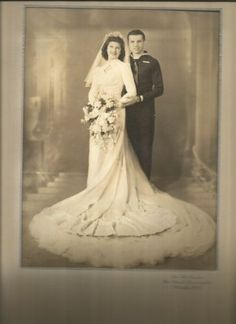 Large Vintage Wedding Photo 1940's Bride with Groom in Navy Uniform | eBay