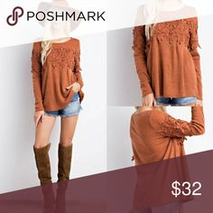 🌟NEW🌟Lace Trimmed Sweater Simple pullover sweater with lace trim at front and sleeve detail.  Must have for this fall!    Color-Rust.       90%Acrylic/10%Spandex.     Size-S,M,L Classic Paper Doll Tops Sweatshirts & Hoodies