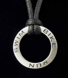 Swim Bike Run Triathlon Pendant in Fine Pewter