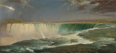 The Hudson River School of landscape painters documented America's natural beauty. I love this painting's rainbow created by the waterfall. Credit: Frederic Edwin Church, Niagara Falls, Corcoran Gallery of Art, Washington, DC. Connecticut, National Gallery Of Art, Art Gallery, Landscape Art, Landscape Paintings, Landscape Wallpaper, Acrylic Paintings, Art Paintings, Hudson River School Paintings